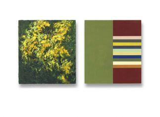 50 x 45 cm. 2x olieverf en alkydlak op linnen op paneel particuliere collectie