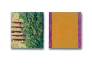 50 x 45 cm. 2x olieverf en acryllak op linnen op paneel particuliere collectie