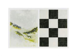 40 x 62 cm. monotype en alkydlak op papier collectie G.J. van Leer / R.F. Pangalike