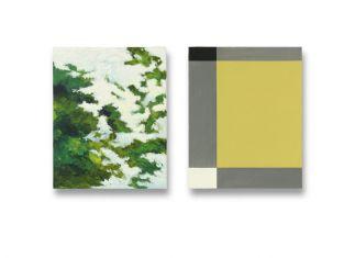 50 x 40 cm. 2x olieverf en acryllak op linnen op paneel particuliere collectie